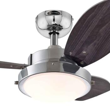 "Westinghouse Wengue Ceiling Fan with Light 78763 - 30"" Chrome Finish"