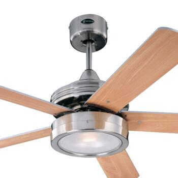 "Westinghouse Hercules Ceiling Fan with Light - 52"" Brushed Nickel"