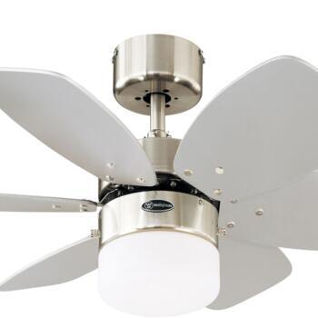"""Westinghouse Flora Royale Ceiling Fan & Light - 30"""" Satin Chrome"""