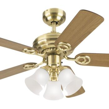 "Westinghouse Ceiling Fan with Light - 72122-78529 - 42"" Satin Brass"