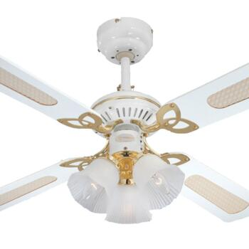 "Westinghouse Princess Trio Ceiling Fan Light-White - 42"" White and Polished Brass"