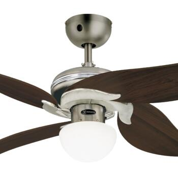 """Westinghouse Jasmine Ceiling Fan with Light - 42"""" Dark Pewter and Chrome"""