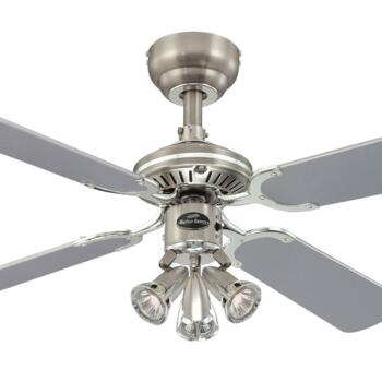 "Westinghouse Princess Euro Ceiling Fan with Light - 42"" Dark Pewter and Chrome"