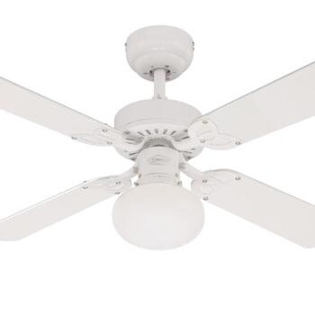 """Westinghouse Vegas White Ceiling Fan With Light - 42"""" White Finish"""