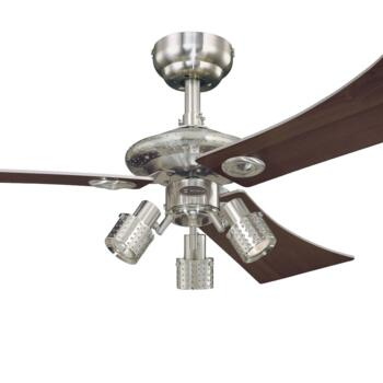 "Westinghouse Audubon Ceiling Fan with Light - 48"" Brushed Nickel"
