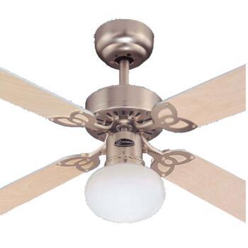 """Westinghouse Vegas Aluminium Ceiling Fan & Light - 42"""" Brushed Aluminium"""