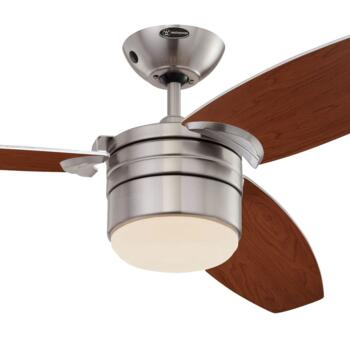 """Westinghouse Lavada Ceiling Fan with Light - 48"""" Satin Chrome"""