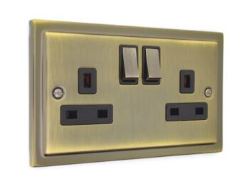Stepped Antique Brass 13A Switched Plug Socket  - Double 2 Gang