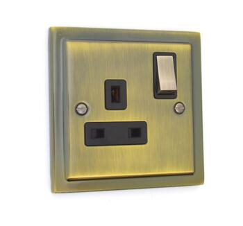 Stepped Antique Brass 13A Switched Plug Socket  - Single 1 Gang