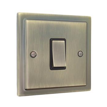 Stepped Antique Brass Light Switch 10AX 2 Way - Single Light Switch - 1 Gang 2 Way