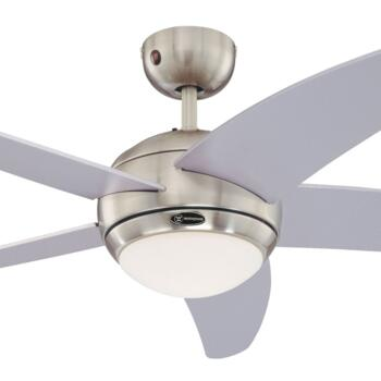 "Westinghouse Bendan Ceiling Fan with Light - 52"" Satin Chrome"