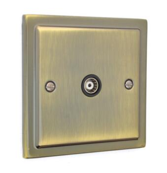 Stepped Antique Brass TV / Satellite Socket Outlet - Single TV Socket - Co-ax Outlet
