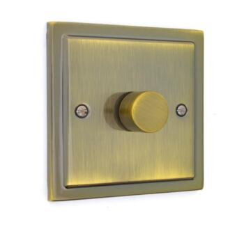 Stepped Antique Brass Dimmer Switch - Single 250W Dimmer Switch - 1 Gang 2 Way