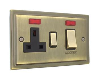 Stepped Antique Brass 45A DP Cooker/Shower Switch - 45A DP Switch & 13A Switched Socket & Neons