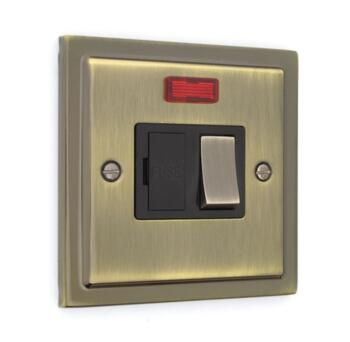 Stepped Antique Brass 13A Fused Spur - 13A Switched Fused Spur & Neon