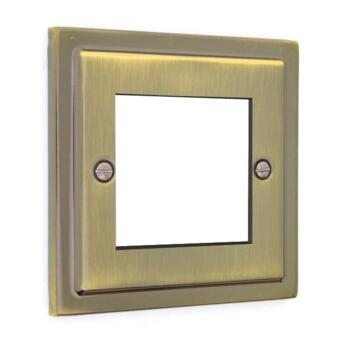 Stepped Antique Brass Data Plate - 2 Module Data Plate