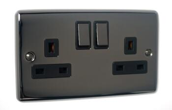 Slim Black Nickel 13A Switched Socket Outlet - Double 2 Gang