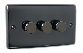 Slim Black Nickel Dimmer Switch - Triple 250W Dimmer Switch - 3 Gang 2 Way