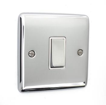 Slim Polished Chrome Light Switch 10AX 2 Way - Intermediate Switch