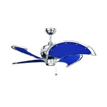 """Fantasia Spinnaker 52"""" Ceiling Fan - Stainless Steel/Blue - 111375"""