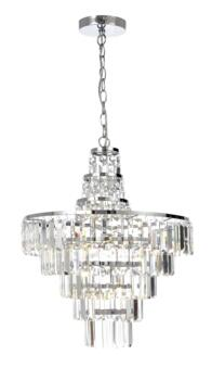 Belle Chrome Chandelier IP44 112W - Glass