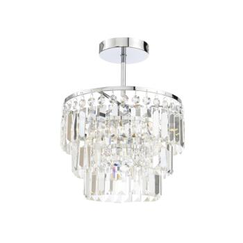 Belle Chrome Chandelier IP44 84W - Glass
