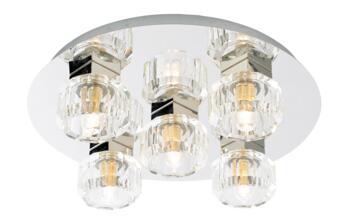 Octans 5 Light Ceiling Fitting IP44 140W - Chrome/Glass