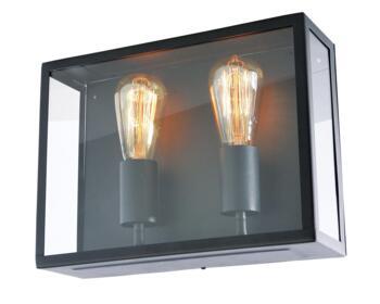 Minerva Twin Black Box Lantern Fitting IP44 120W - Black Finish