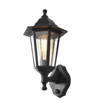 Bianca Polycarbonate Up/Down Wall Lantern With PIR - Black Finish
