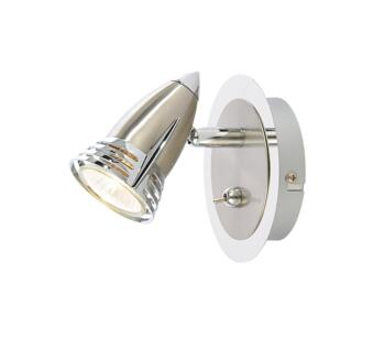 Elara Single Light Wall Spotlight 35W - Chrome/Satin Nickel