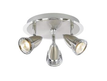 Elara 3 Light Plate Spotlight 105W - Chrome/Satin Nickel