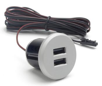 Silver 12V Recessed USB Charger Socket - Silver Finish