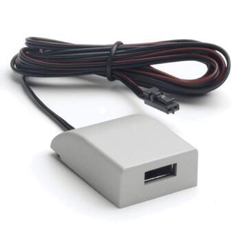 Silver 12V Surface USB Charger - Silver Finish