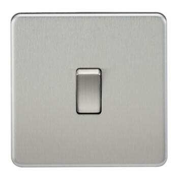 Screwless Brushed Chrome Light Switch - Single 1 Gang 2 Way