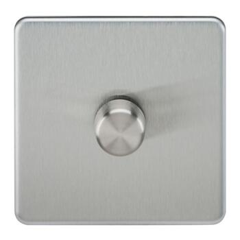 Screwless Brushed Chrome Dimmer Light Switch - Single 1 Gang 2 Way 10-200W LED (5W-150W)
