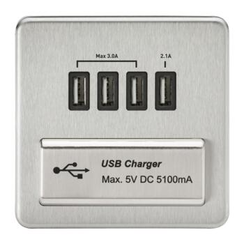 Screwless Brushed Chrome Single Quad USB Charger - With Black Interior