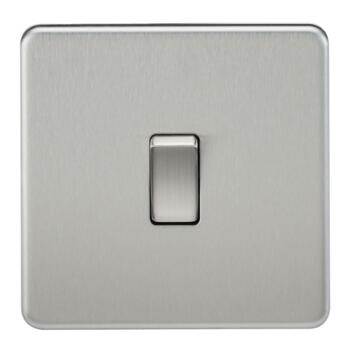 Screwless Brushed Chrome 20 Amp Switches - 1 Gang DP Switch