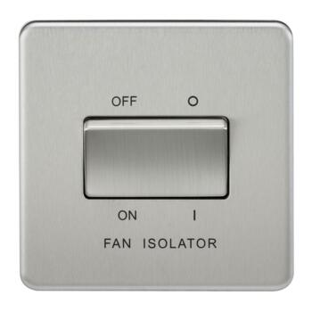 Screwless Brushed Chrome Fan Isolator Switches - 10A 3 Pole Fan Isolator Switch