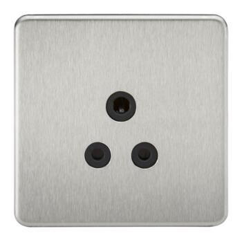 Screwless Brushed Chrome 5A Unswitched Sockets - 5A Unswitched Socket With Black Insert