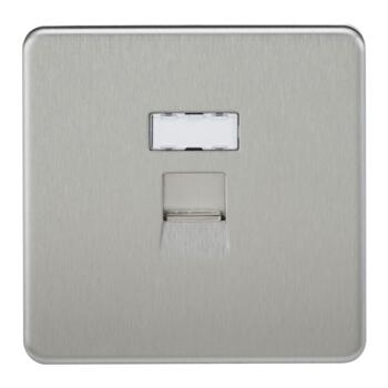 Screwless Brushed Chrome Network Socket - RJ45 Network Outlet