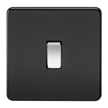 Screwless Matt Black 20 Amp Switches - 1 Gang DP Switch