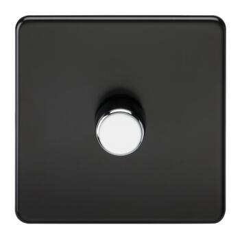 Screwless Matt Black Dimmer Light Switch - Single 1 Gang 2 Way 10-200W (LED 5W-150W)
