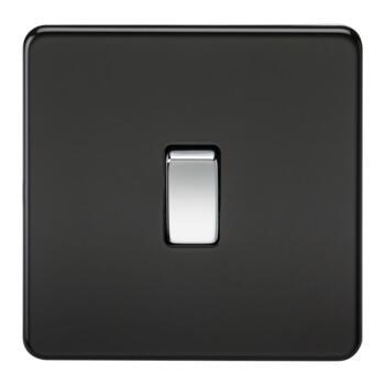 Screwless Matt Black Light Switch - Single 1 Gang 2 Way