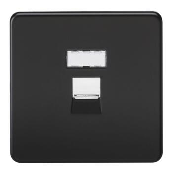 Screwless Matt Black Network Socket - RJ45 Network Outlet