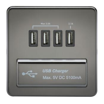 Screwless Black Nickel Single Quad USB Charger - Black Nickel With Black Insert