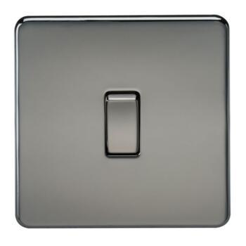 Screwless Black Nickel Light Switch - Single 1 Gang 2 Way