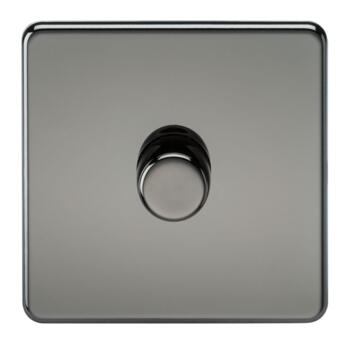 Screwless Black Nickel Dimmer Light Switch - Single 1 Gang 2 Way 10-200w (LED 5W-150W)