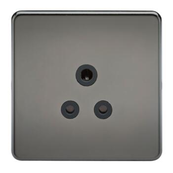 Screwless Black Nickel 5A Unswitched Sockets - Black Nickel With Black Insert
