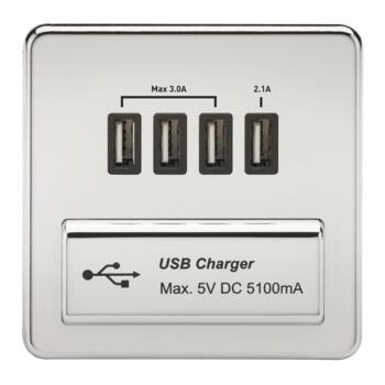 Screwless Polished Chrome Single Quad USB Charger - With Black Interior