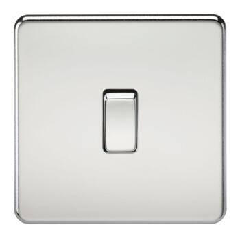 Screwless Polished Chrome Light Switch - Single 1 Gang 2 Way